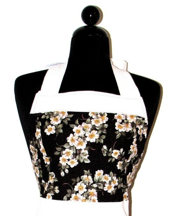 The ELEGANT ELOISE Vintage Inspired White Floral Fashionista Full Apron
