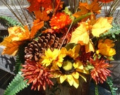 Fall Wall Pocket Filled with Colorful Fall Flowers andFoliage