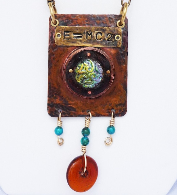 Hammered Copper Mixed Media Pendant Necklace with Dichroic Glass Cabochon and Turquoise Beads