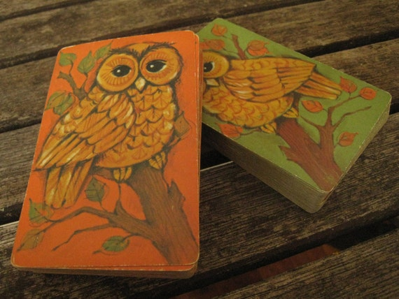 Vintage Set of Owl Playing Cards by Hallmark