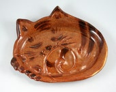 Sleeping kitten plate Made to order