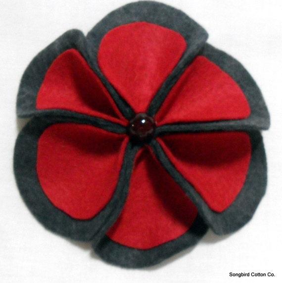 Winter Flower Pin/Brooch in Flannel Grey