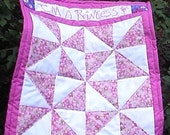 I'm A Princess Pink and White Floral Pinwheels Embroidered Pet Kitty Kitten Cat Doll Mini  Quilt