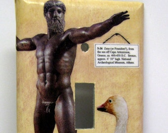 Poseidon or Zeus, Wonders the Goose -Single Recycled Light Switch Plate Cover, Museum, Bird, Mythology, Statue, Museum, God, Collage, OOAK