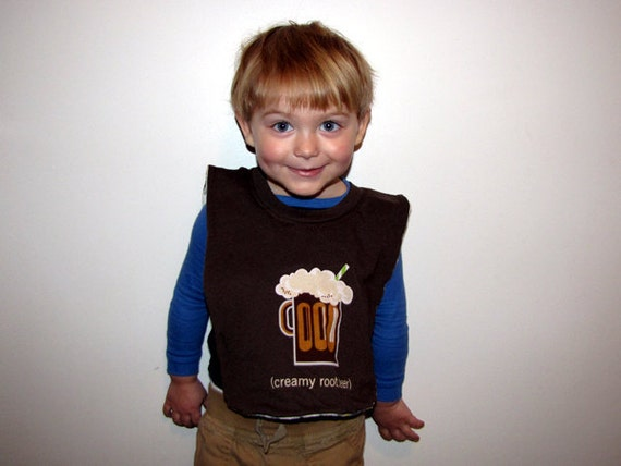 Creamy Root Beer Baby/Toddler Bib - Upcycled, Brown, Hansen's, Mug, Sesame Street, Alphabet, OOAK