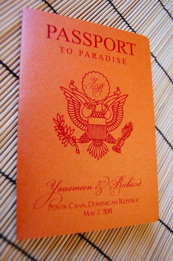 Sample Passport Wedding Invitation - US Cover