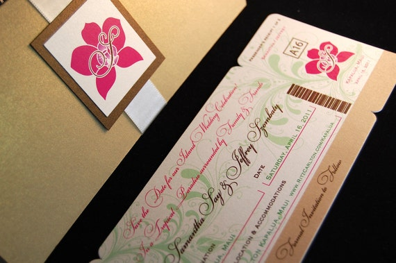 Orchid boarding pass invitation - SAMPLE