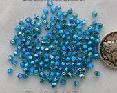 25 Swarovski Crystal 5328 Beads Blue Zircon AB2X 3mm