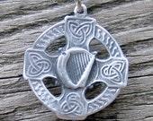 Celtic Harp Cross Necklace Handmade Pewter