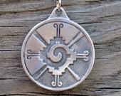 Hunab Ku Mayan Pewter Necklace Pendant