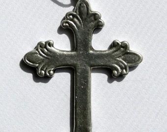 Pewter Cross Necklace Handmade French Catholic Design