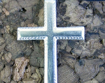 Cross Necklace - Silver Pewter with Detailed Boarder