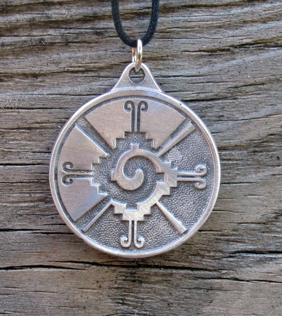 hunab ku mayan pewter necklace pendant