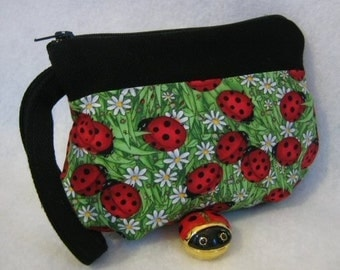 Ladybug Zipper Pouch Cosmetic Bag