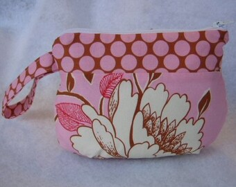 Amy Butler Peony in Pink Zipper Pouch Cosmetic Bag