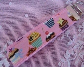 Cupcakes Key Fob on Pink Wristlet Key Chain