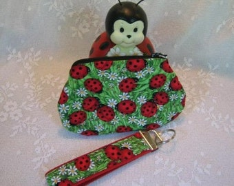 Ladybug Key Fob and Coin Pouch Set  Zipper purse