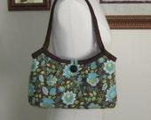 Womens Tote Bag, Medium Handbag, Button Closure, Handmade From Sarasa Floral Brown