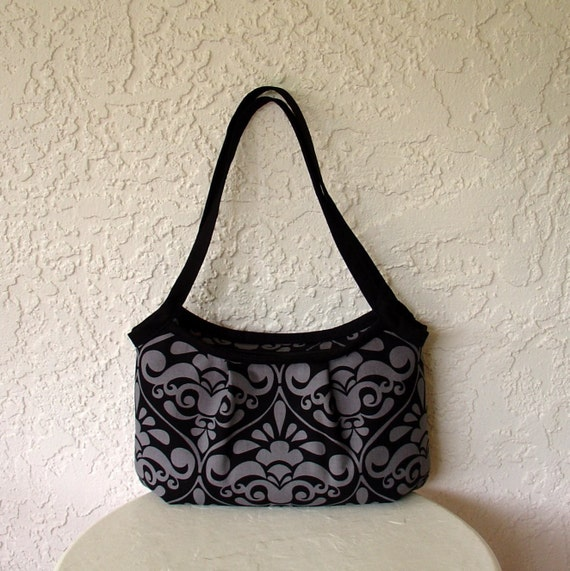 The Sassy Purse With Zipper Closure- Medium Size, Light Weight, Shoulder Bag Made From Divine Damask Grey By Michael Miller