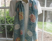 Aqua Blue and Green with Scallops and Sand Dollars Hand Painted Silk Scarf