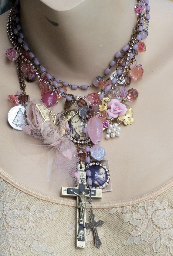 Mothers Day Sale 20% off...Lady Madonna Pink Rhinestone Cascading Necklace Set  Antique Crucifix& Medals