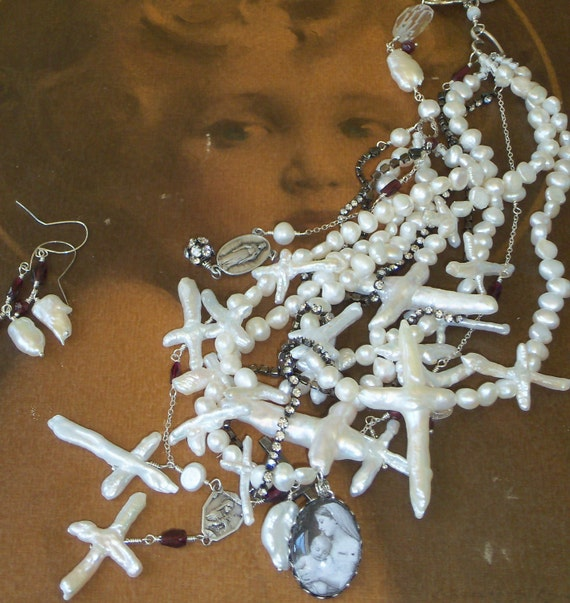 Santa  Sale...Who Loves You Pretty Mama Biwa Cross Pearls Sterling Rosary necklace