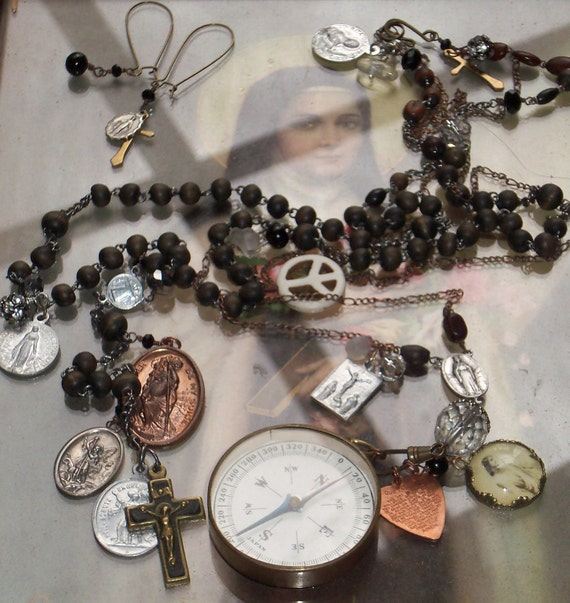 Patriotic Sale...My Little Solder Boy Antique Military Compass Vintage Rosary & Medals necklace