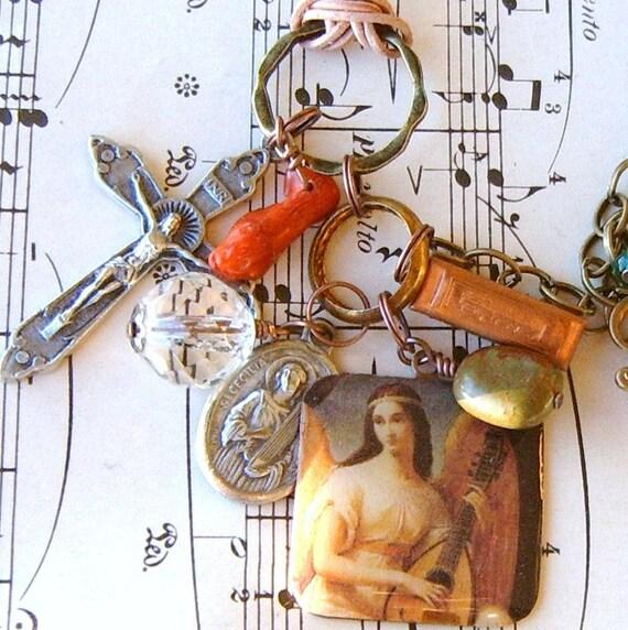 I got the MUSIC in me St Celeste Patron Saint of Music Charm bracelet