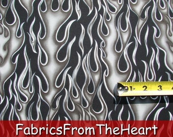 Chrome Steel Flames Wheels on Fire on Black BY YARDS Alexander Henry Cotton fabric