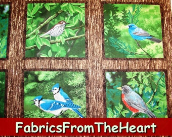 Natures Song Birds Finch Cardinal 15 per yard, 7 inch Blocks Wilmington Cotton Fabric