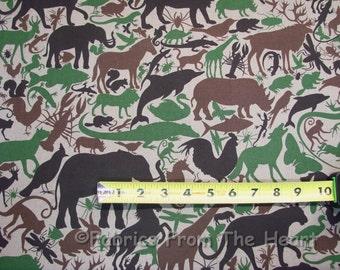 Animal Kingdom Camo Horses Wolf Birds Cat BY YARDS Alexander Henry Cotton Fabric