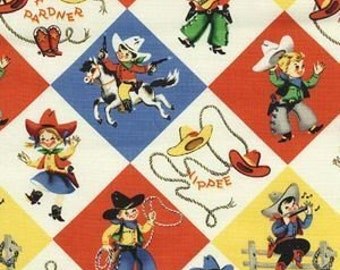 Yippie Rodeo Lil Cowpokes Cowboys Horses Michael Miller Cotton Fabric