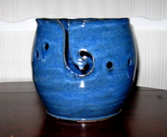 Very Large  and TALL 7 inches by 7 inches Yarn Bowl Using 2 shades of Blue to come up with a One of a Kind color of Blue