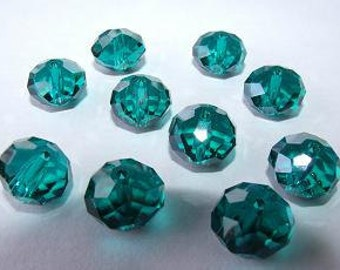8x5mm deep teal faceted crystal donuts