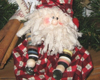 SANTA- -Upcycled button Santa in Christmas Red Plaid-