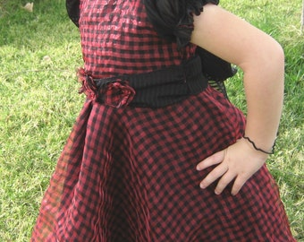 TWIRL DRESS-Size 4 - Sheer Black and Red Check