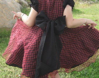 TWIRL DRESS- - Sheer Black and Red Check Size 4