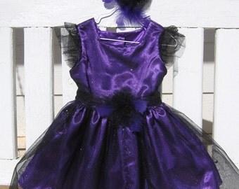 TWIRL DRESS- - Sheer Black Sparkle over Royal Purple- Size 3T