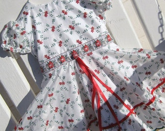 Dress- -Holiday Sparkles in White with Red and Green Embroidery- -Size 4/5