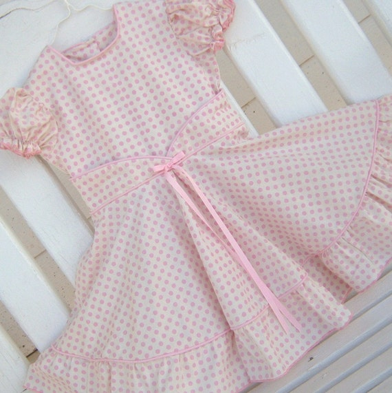Spring Dress Twirler- -Gazillions of Pink Polka Dots on Cream- -  Size 4 to 5