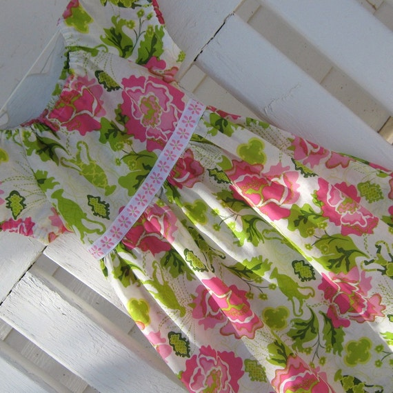 Dress- -Summertime Peasant Dress, Size 8,  Pinks and Kiwi Lime Green and Soft White