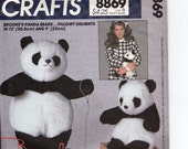 1970s Brooke Shields Panda Bear Teddy Bear Pillowy Delights Sewing Pattern McCalls Crafts No. 8869 Size 12 inches and 9 inches