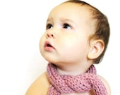 knit baby, toddler, or childs rolled scarf and photo prop - pink rose, in stock and ready to ship