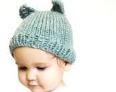 for Jeany: handknit baby hat and photo prop - aqua blue kitty cat, size 3 to 9 months, machine washable wool, ready to ship