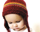 baby earflap hat, hand knit boutique photo prop, 9 to 18 months - cranberry red with stripes, ready to ship