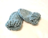 thumbless knit baby mittens with string attachment available - aqua, 3 to 18 months, soft, all natural fibers, ready to ship