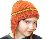 kids earflap hat, knit, size 5T children to small adult, papaya with stripes all natural fibers, soft, machine washable wool - ready to ship