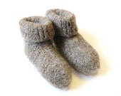 knit toddler slippers or booties - felted,  pussywillow grey, 18 months - 3T, ready to ship