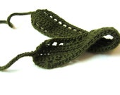 adjustable hairwrap, crochet headband with knit ties, for girls, teens, and women, dark forest green, ready to ship