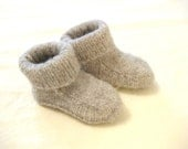 Haiti earthquake relief - felted knit toddler booties - dove grey, size 9-24 months